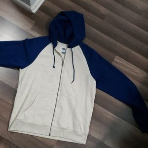 ⛸ mens off white and blue hoodie ⛸